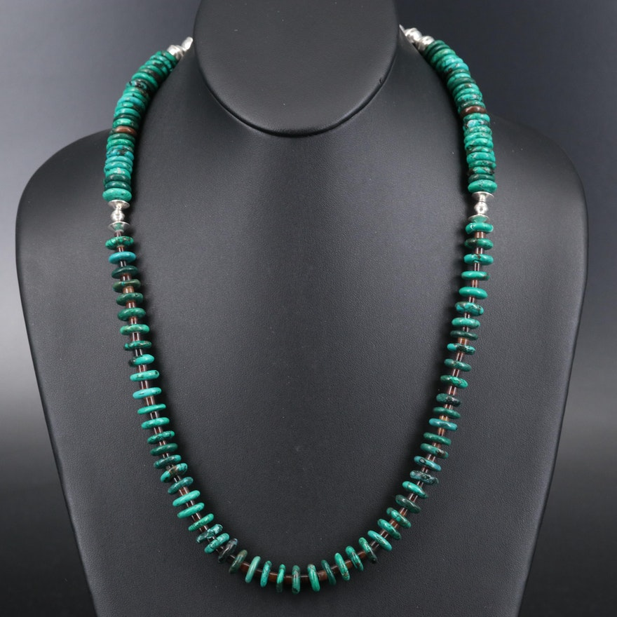 Sterling Magnesite and Shell Heishi Necklace