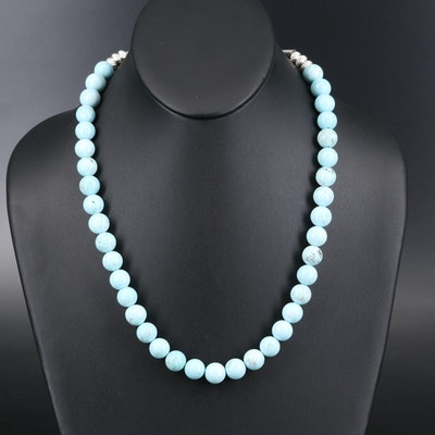 Magnesite Bead Necklace with Sterling Clasp