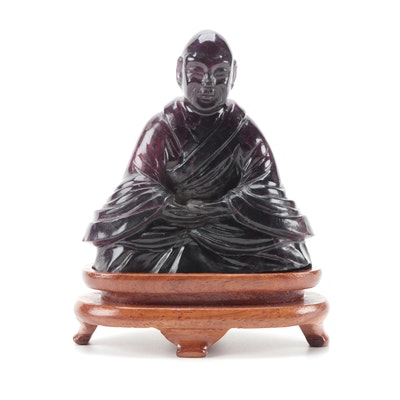 Chinese Style Carved Fluorite Meditating Buddhist Monk