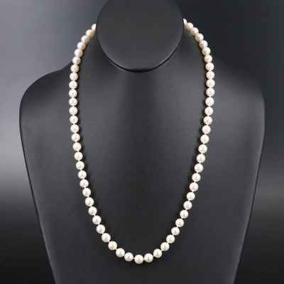Pearl Opera Length Necklace with 18K Clasp