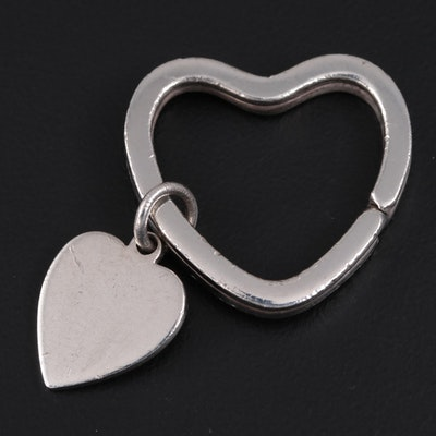 Tiffany & Co. Sterling Silver Heart Charm and Key Ring