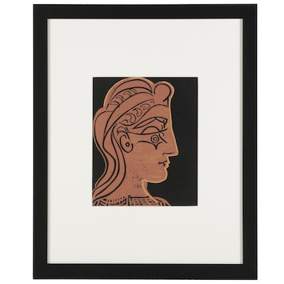 "Pablo Picasso Linoleum Cut ""Female Head in Profile,"" 1962"