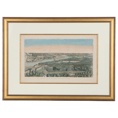 Hand-Colored Engraving of a View of Paris, Late 18th-Early 19th Century