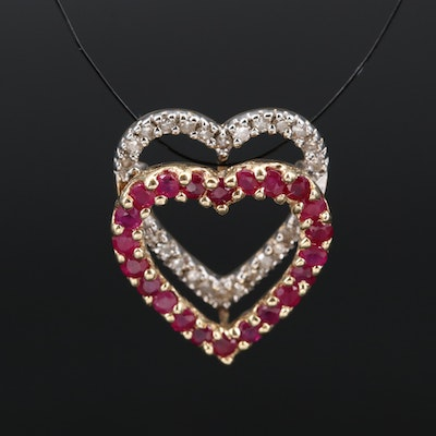 14K Ruby and Diamond Double Heart Pendant