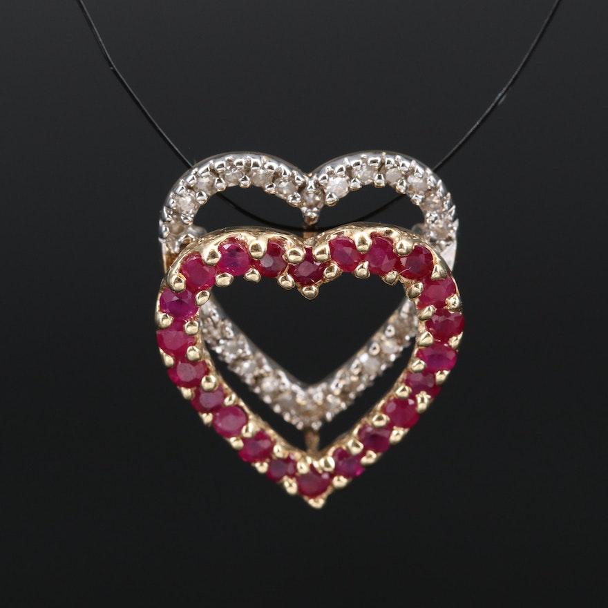 14K Ruby and Diamond Double Heart Pendant