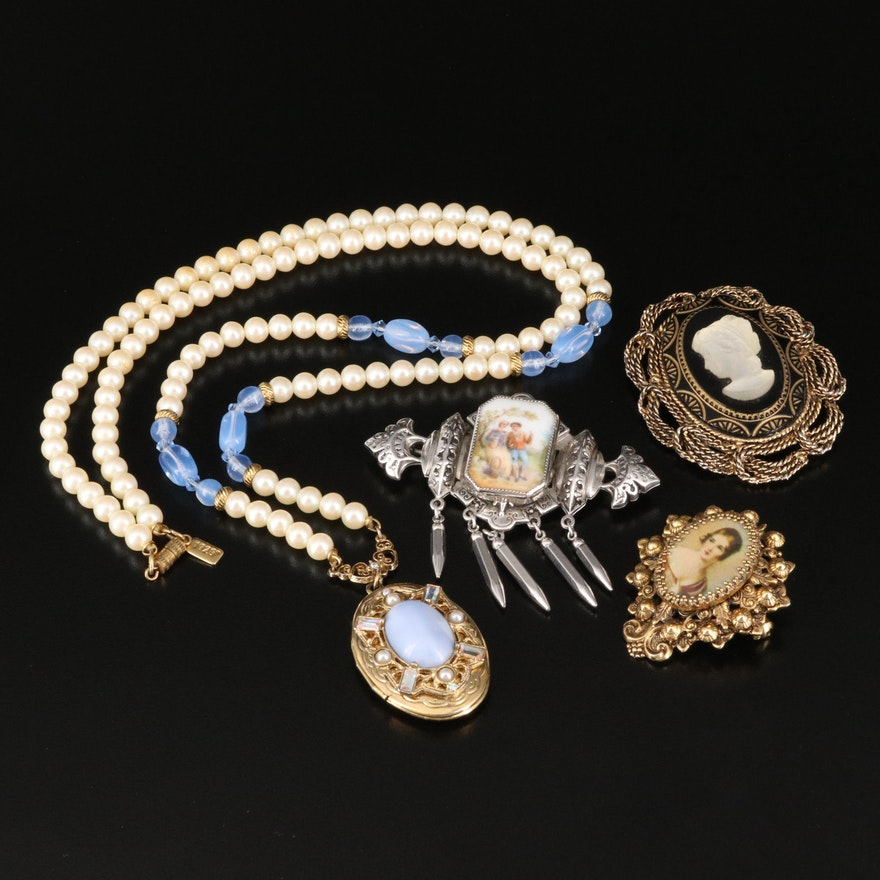 Portrait and Cameo Brooches with Imitation Pearl Locket Necklace