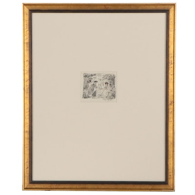 Edgar Yaeger Figural Ink and Graphite Drawing, Mid-Late 20th Century