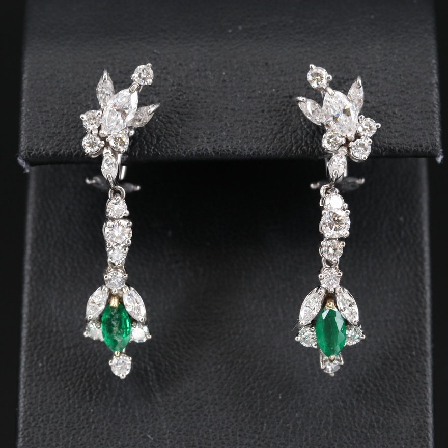 Vintage Style 14K Emerald and 2.39 CTW Diamond Earrings