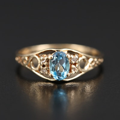 14K Topaz and Diamond Openwork Ring
