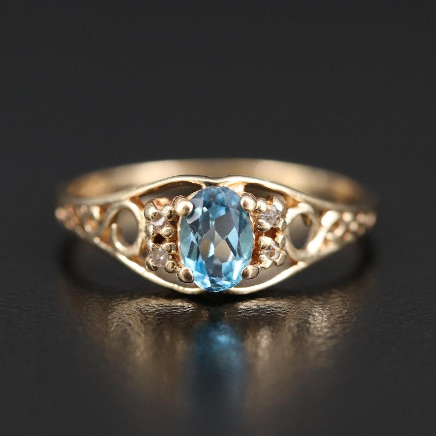 14K Topaz and Diamond Openwork Ring