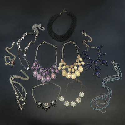 Necklaces Including Beaded, Woven Collar and Layered Station