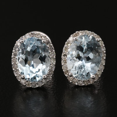 14K 2.16 CTW Aquamarine and Diamond Halo Stud Earrings