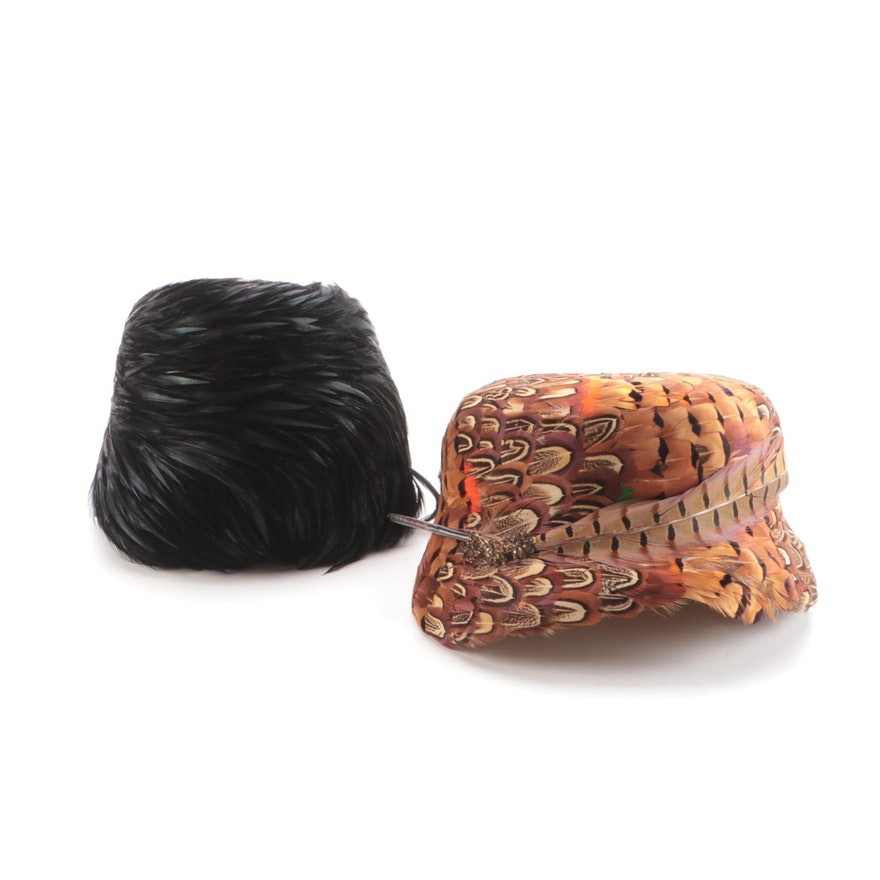 Miller & Rhoads Cayuga Duck and Pheasant Feather Cloche Hats
