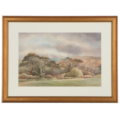 William George Dolman Landscape Watercolor Painting of Trees, Late 20th Century