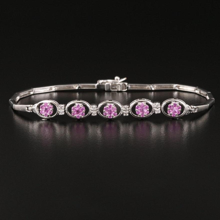 14K Pink Sapphire and Diamond Bracelet