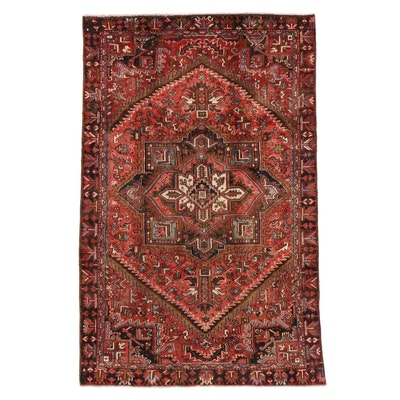 6'3 x 9'7 Hand-Knotted Persian Heriz Rug, 1950s