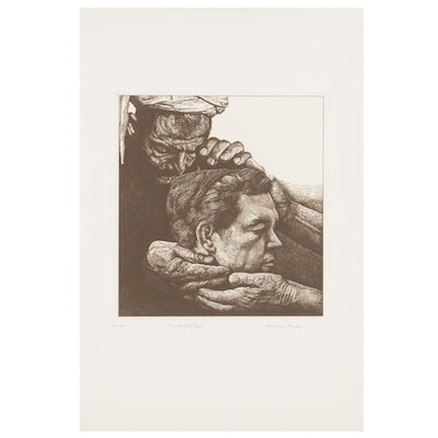 """Marvin Hayes Copperplate Etching """"Prodigal Son,"""" 1976"""