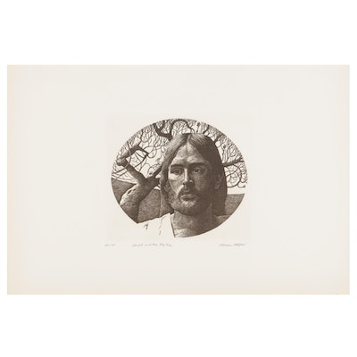 """Marvin Hayes Etching """"Christ and the Fig Tree,"""" 1976"""