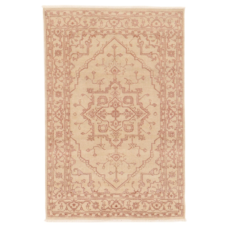 4' x 6'2 Hand-Knotted Turkish Oushak Rug, 2000s