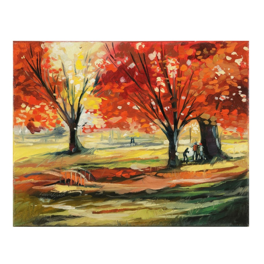 """Said Oladejo-lawal Oil Painting """"Merry Spring"""""""