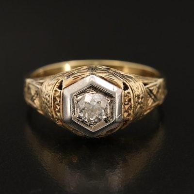 Art Deco 14K 0.43 CT Diamond Solitaire Ring