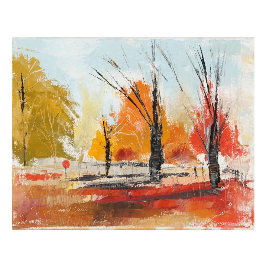"""Said Oladejo-lawal Oil Painting """"Fall is Here"""""""