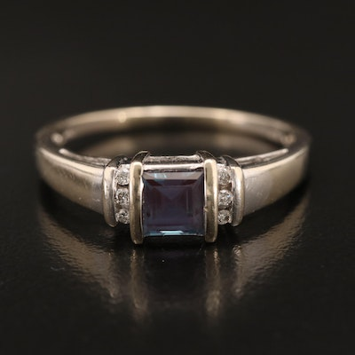 14K Color Changing Alexandrite and Diamond Ring