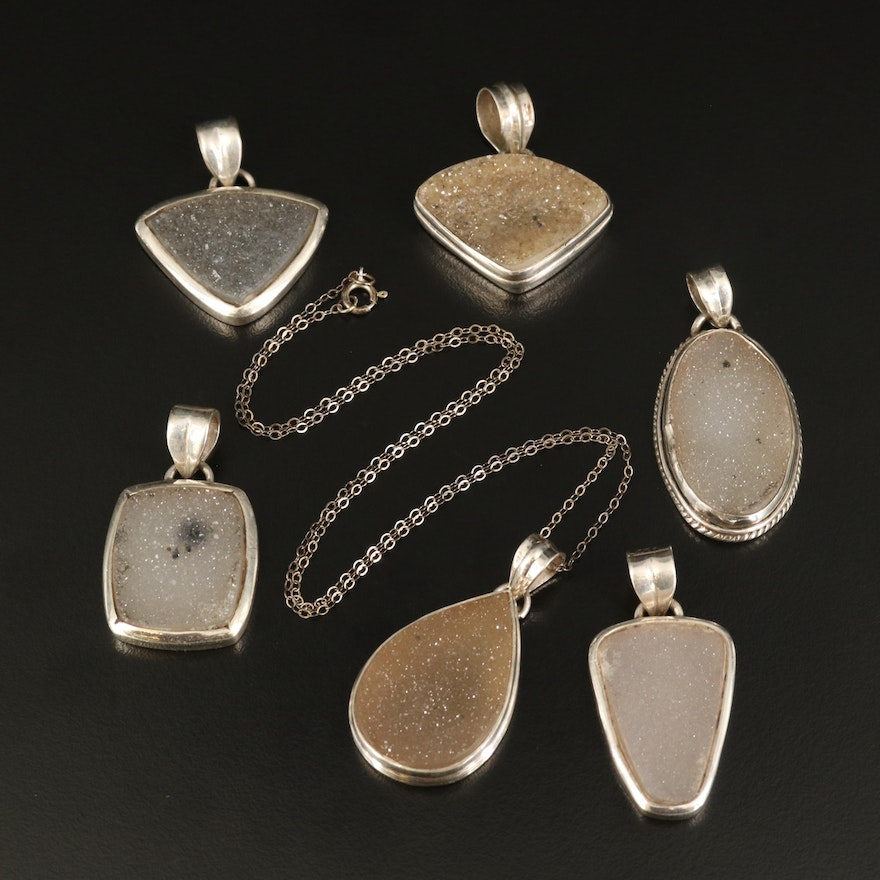 Sterling Silver Druzy Necklace and Pendants