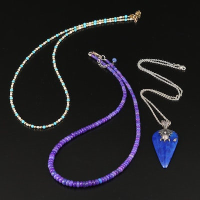Necklaces Including Sterling, Quartz, Pearl, Turquoise and Lapis Lazuli