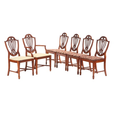 Six Hepplewhite Style Walnut Upholstered Dining Chairs, Late 20th Century