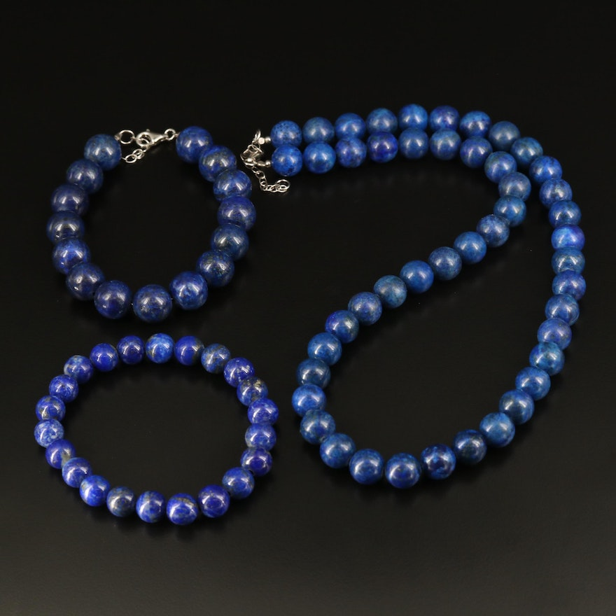 Lapis Lazuli Beaded Necklace and Bracelets Including Sterling Silver