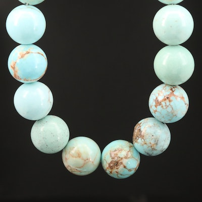 Magnesite Beaded Necklace with Sterling Silver Closure