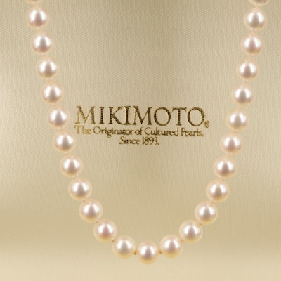 Mikimoto Pearl Necklace with Box