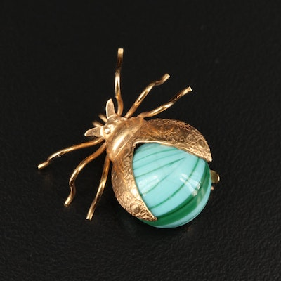 14K Patterned Insect Brooch