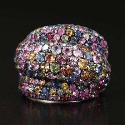 Dilamani Sterling Multicolored Sapphire and Ruby Ring