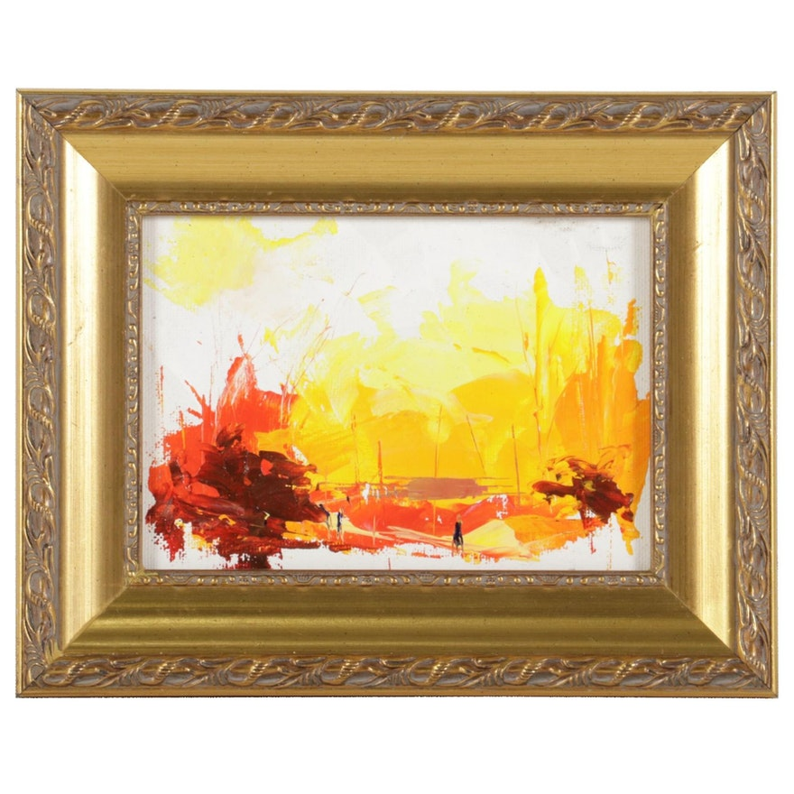 "Said Oladejo-lawal Acrylic Painting ""Sunset Village II,"" 21st Century"