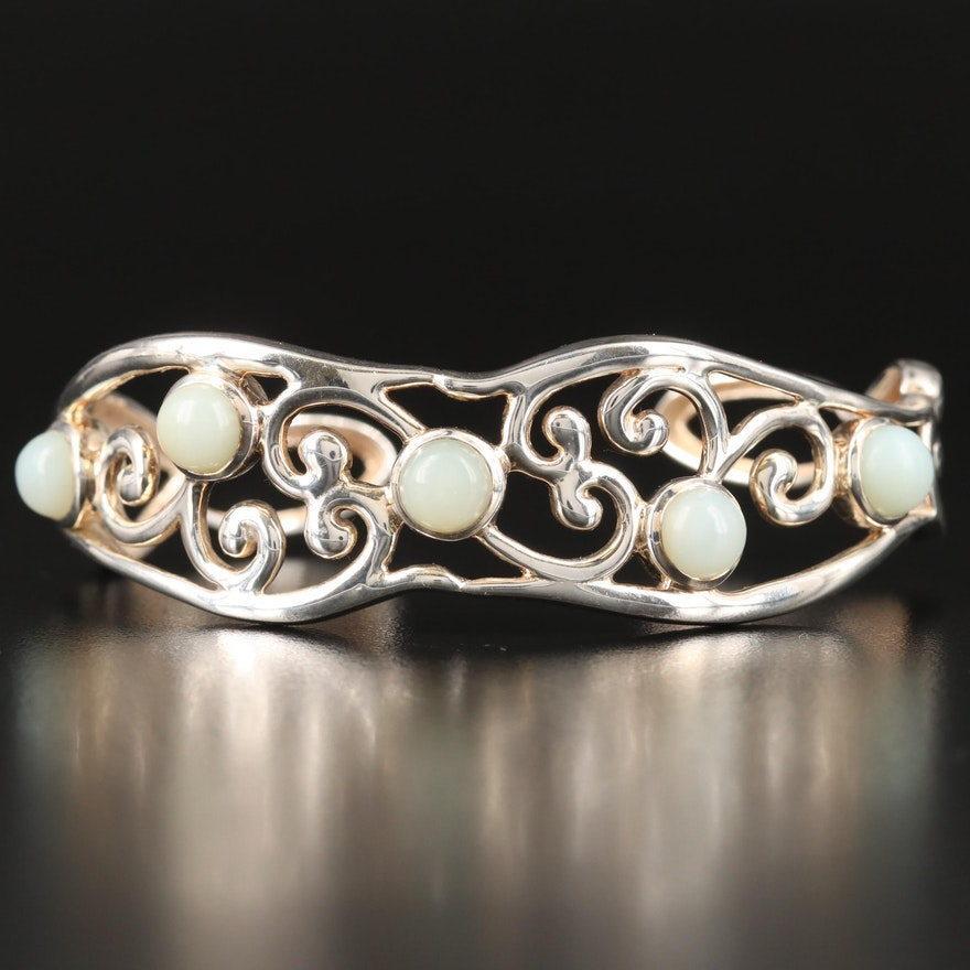 Sterling Common Opal Scrollwork Cuff