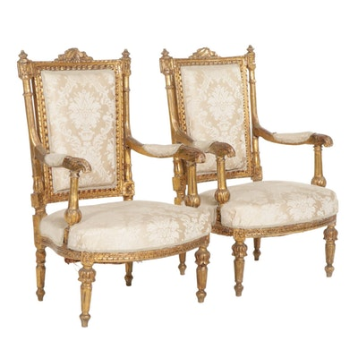 Pair of Louis XVI Style Giltwood Fauteuils, Late 19th Century