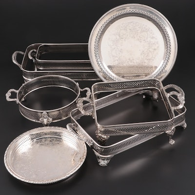Wm. Rogers Chased Silver Plate Round Tray with Other Gallery Tray Caddies