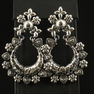 Sterling Flower and Heart Motif Door Knockers Earrings