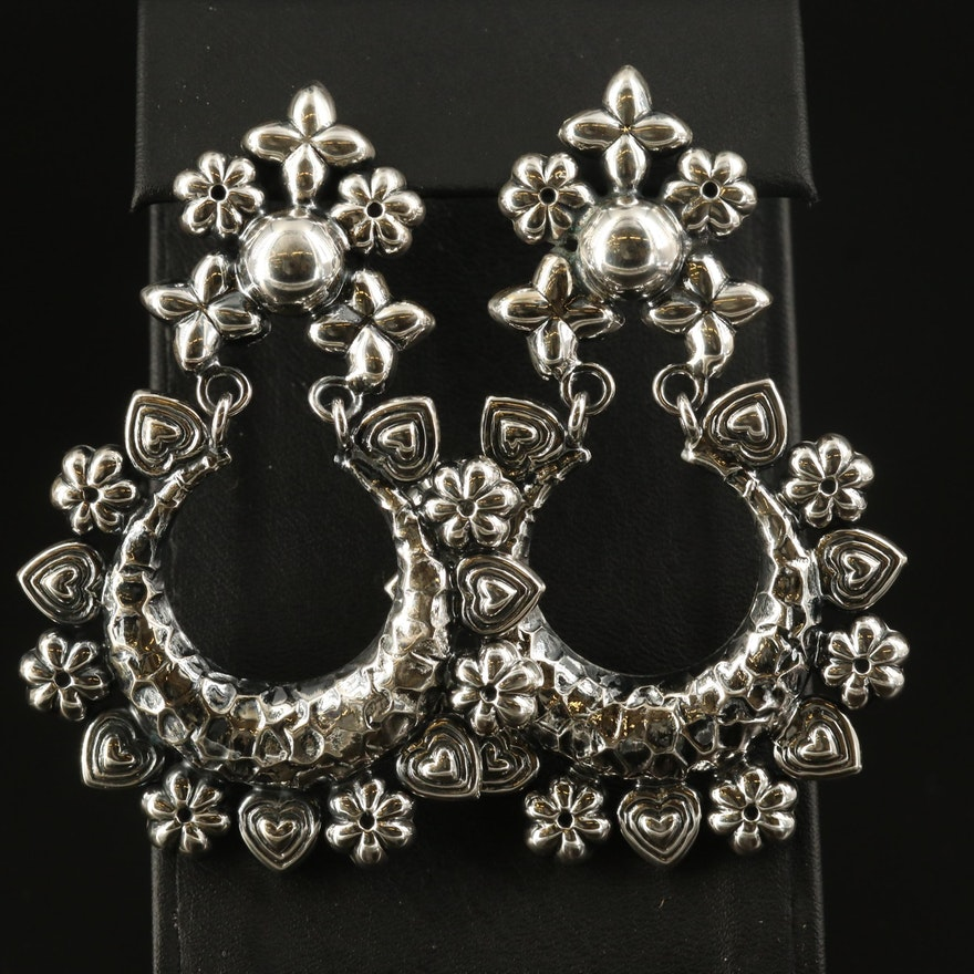 Sterling Flower and Heart Motif Door Knockers Earrings