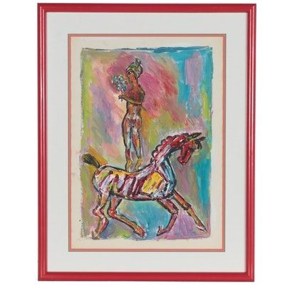 Charles Tullio Acrylic Painting of Equestrian Vaulting