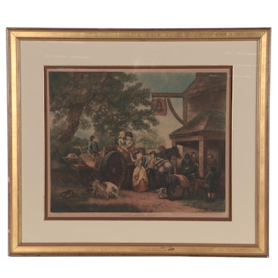 "Hand-Colored Photogravure after George Morland ""No.1 Return from Market"""