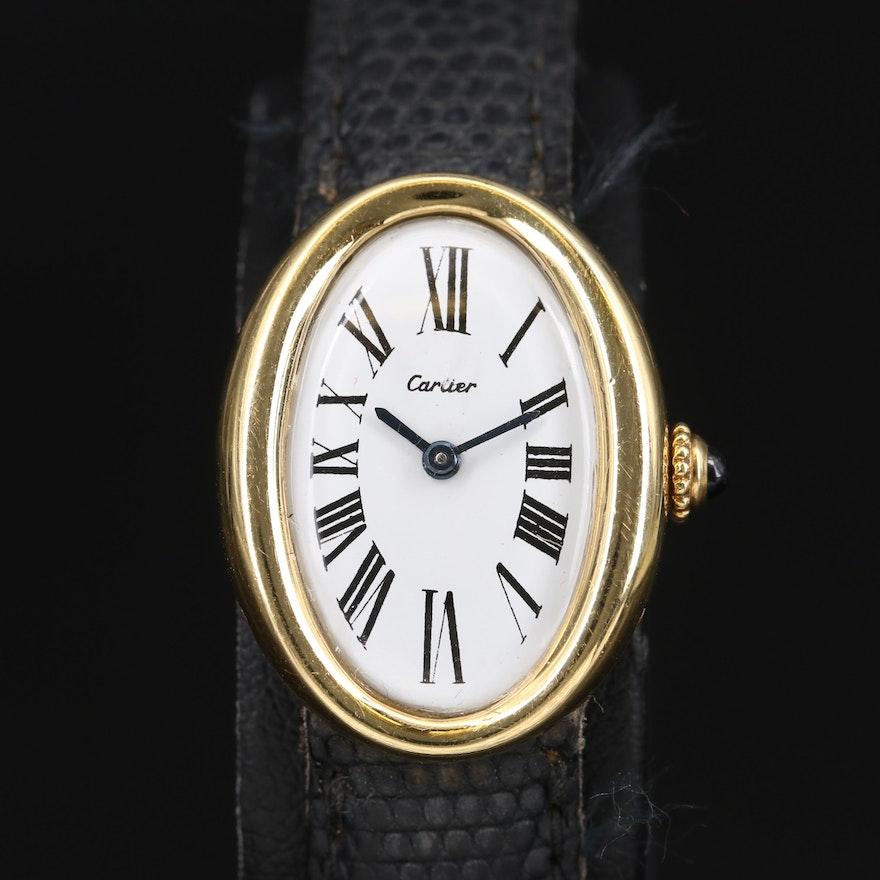 18K Cartier Baignoire Wristwatch with Jaeger-LeCoultre Movement