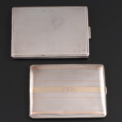 James E. Blake Co. 14K Gold and Sterling with Other Sterling Cigarette Cases