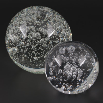 Controlled Bubble Clear Art Glass Paperweights, Contemporary