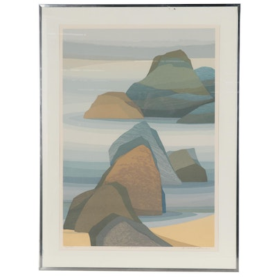 "Kensuke Wakeshima Serigraph ""Water & Rocks,"" Late 20th Century"