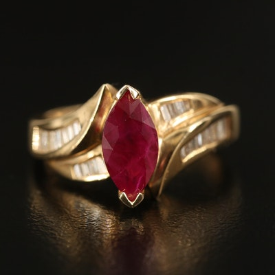 14K 1.46 CT Marquise Ruby and Diamond Ring