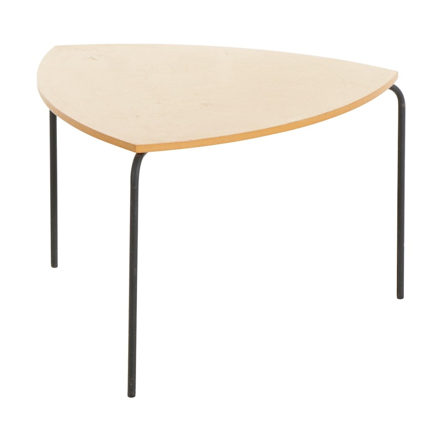 Modern Triangular Composite and Blackened Steel Side Table