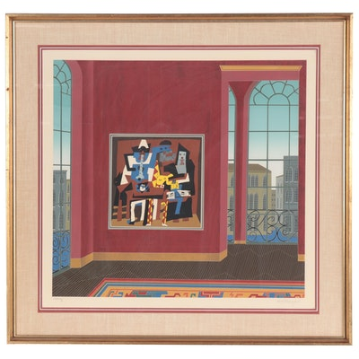 """Thomas McKnight Serigraph """"Picasso in Venice,"""" 1982"""